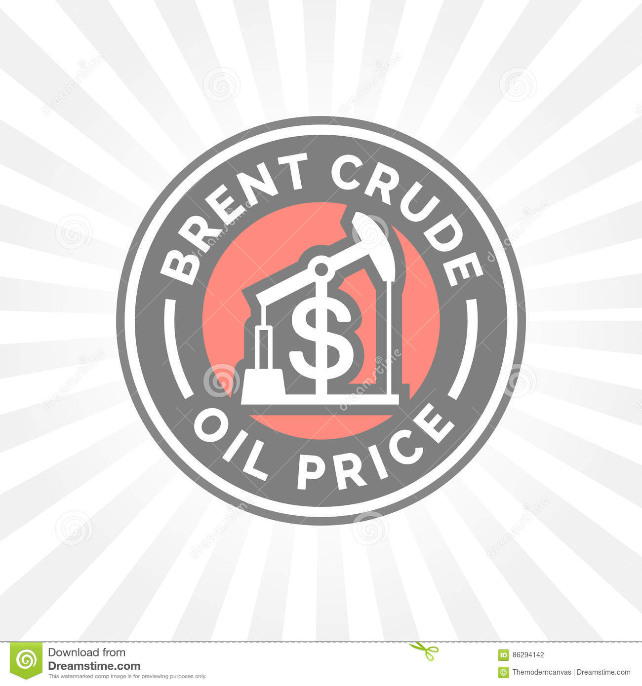 Brent Crude Oil Price Icon With Dollar Symbol Badge Stock Vector