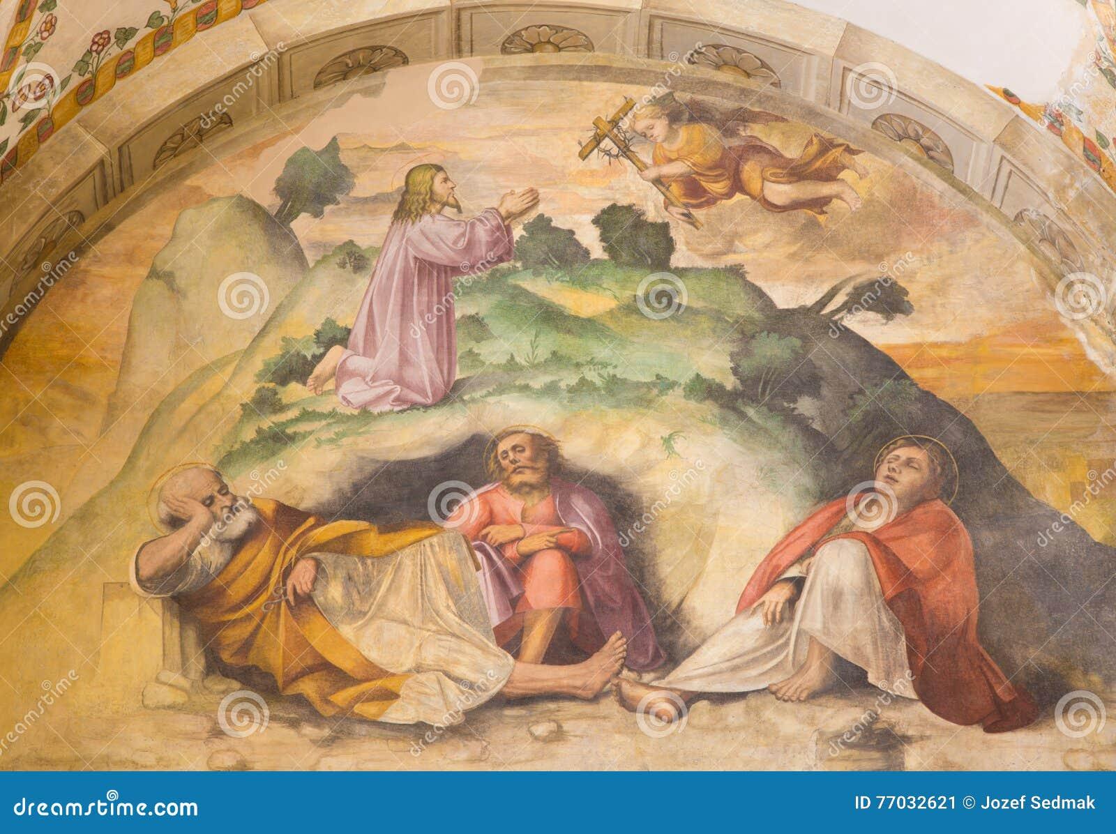 BRESCIA ITALIEN, 2016: Den Jesus bönen i Gethsemane trädgårdfreskomålning in av kyrkliga Chiesa di San Giuseppe vid den Romanino
