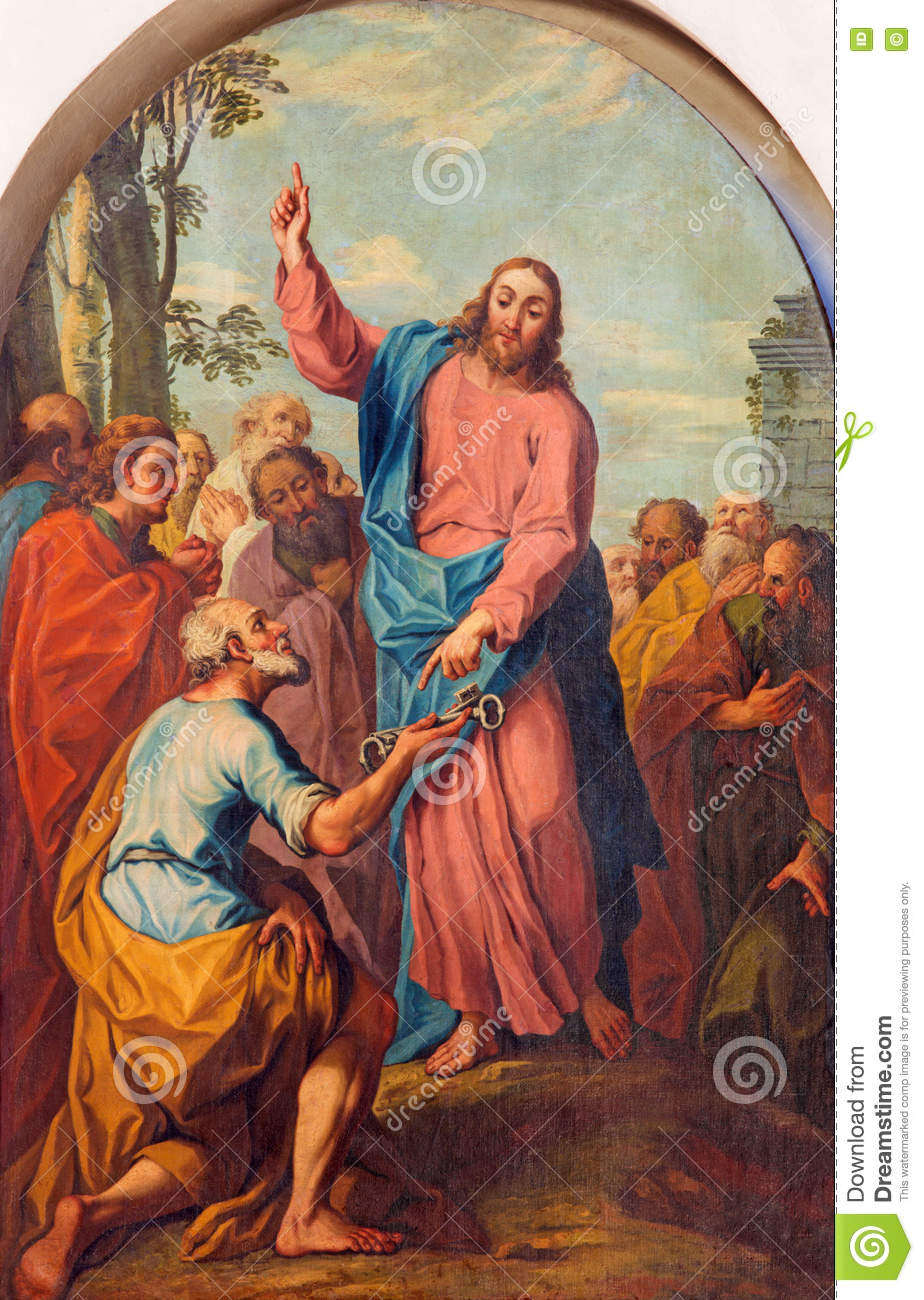 BRESCIA, ITALY, 2016: The Painting Jesus Consigning The Keys To