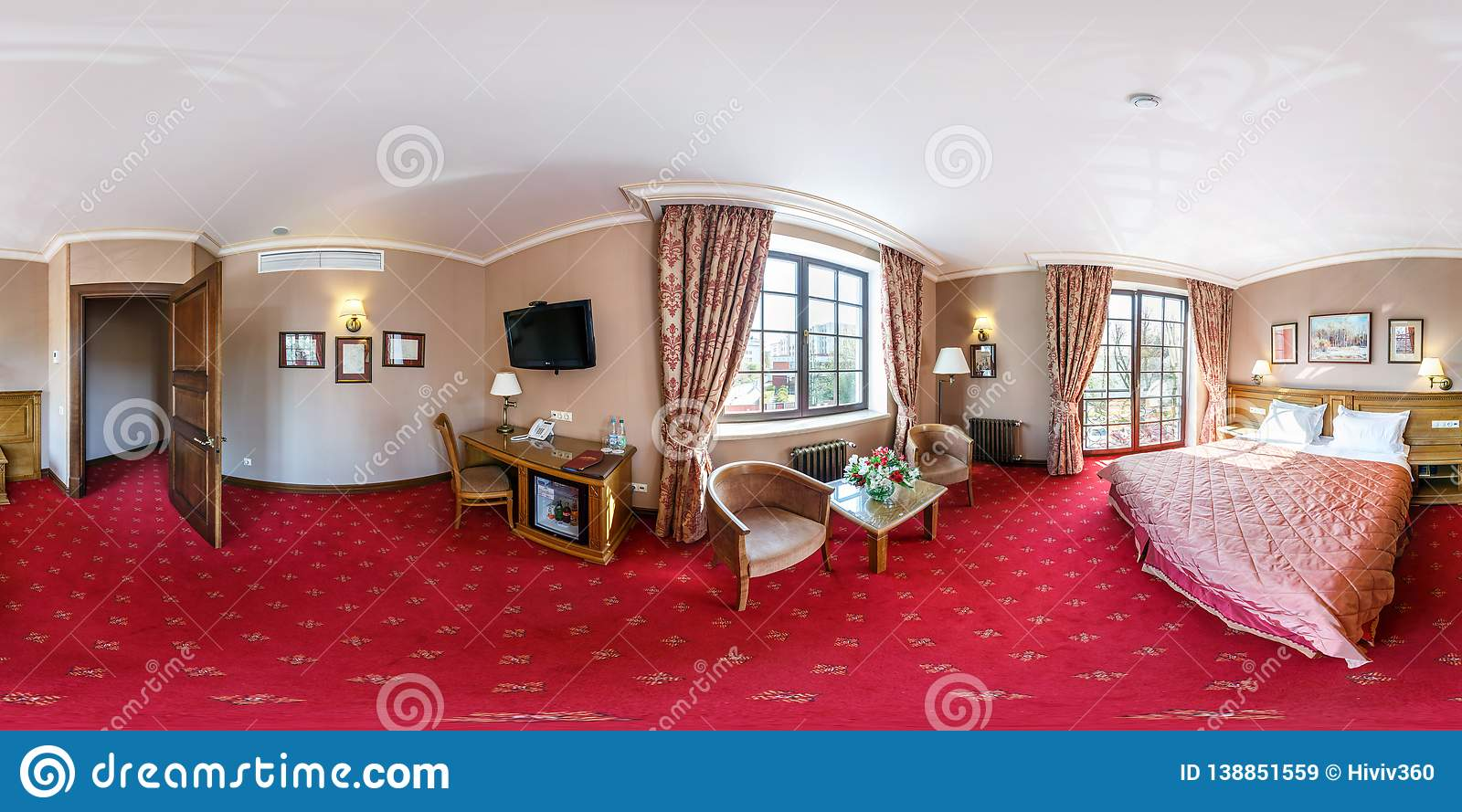 Brest Belarus April 27 2014 Modern Loft Apartment Interior Living Room With Red Carpet Hall Full 360 Panorama In Editorial Stock Image Image Of Equirectangular Comfortable 138851559
