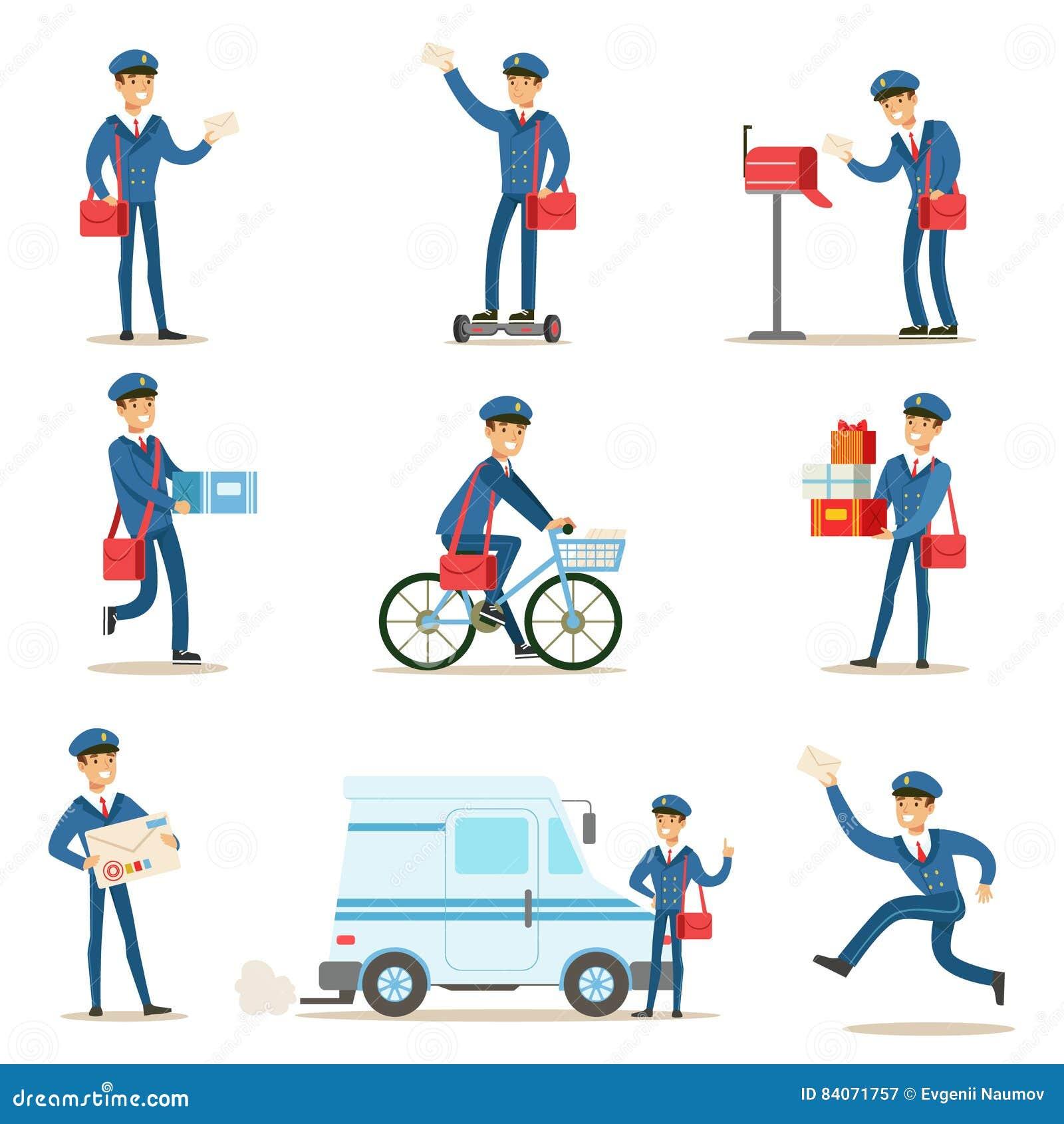 Brevbärare i blå likformig med den röda påsen som levererar post och andra packar som fullgör brevbäraren Duties With en leendeup