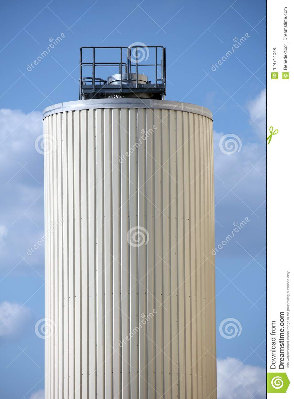 Brewery silo against blue sky