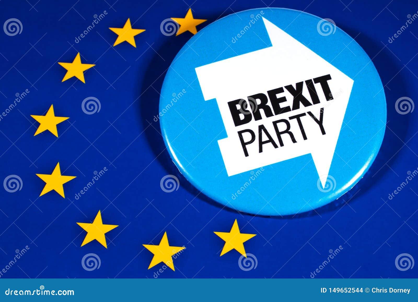 Brexit党商标和欧盟旗子