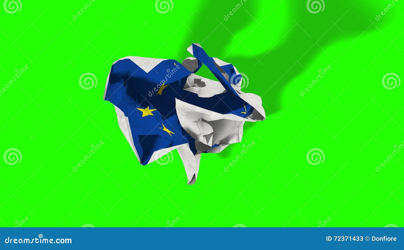 Brexit,与欧洲旗子,申根欧元区危机,色度关键绿色屏幕的滚动的被弄皱的纸