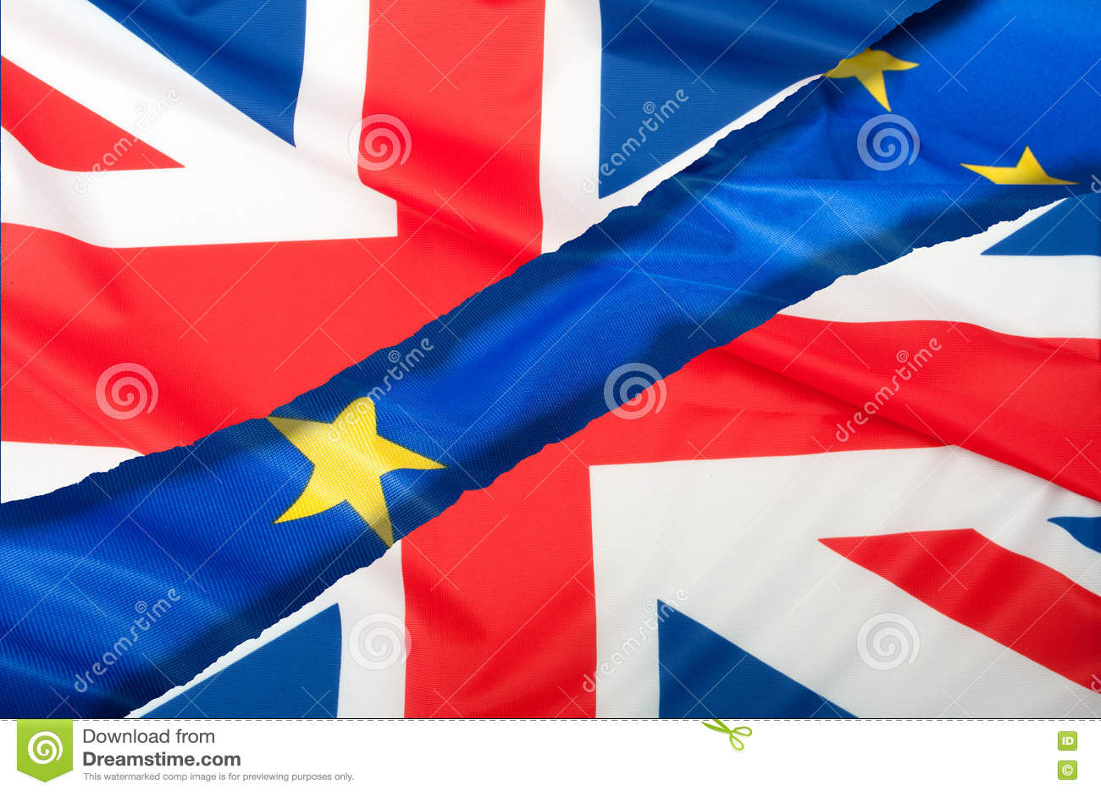 Brexit -欧盟和英国的被分离的旗子