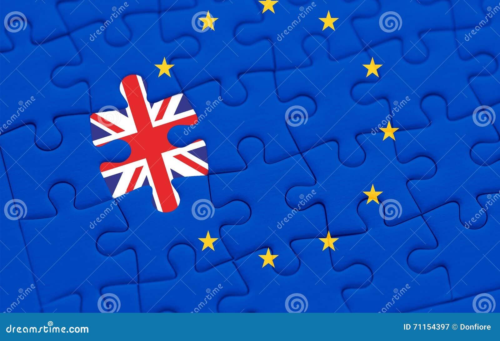 Brexit blue european union EU flag puzzle with puzzle piece with great britain flag