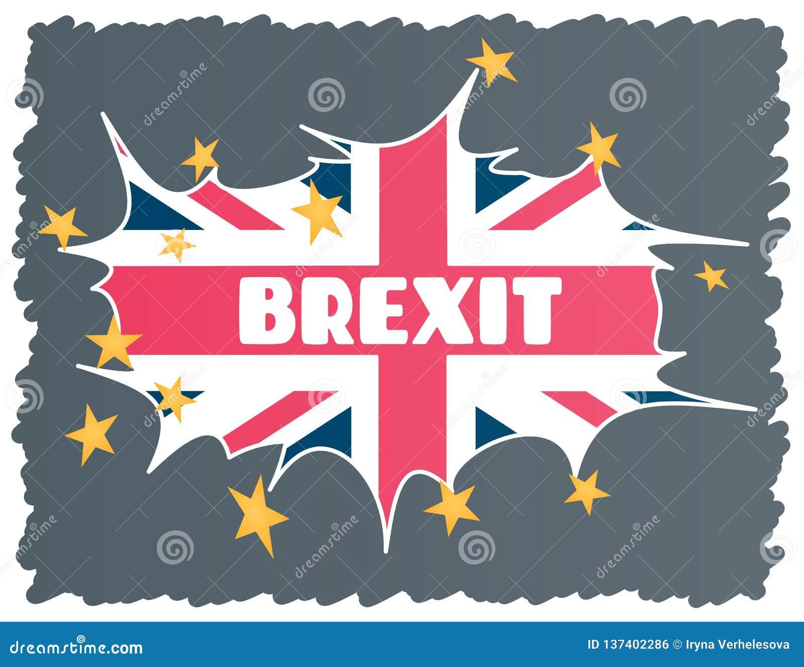 Brexit - Britse uitgang van de Europese Unie EU Het concept de instorting van de EU in het geval van het UK Vector