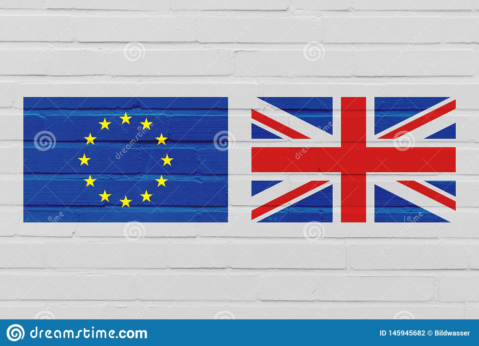 Brexit Concept with the Flag of European Union and United Kingdom on Brick Wall