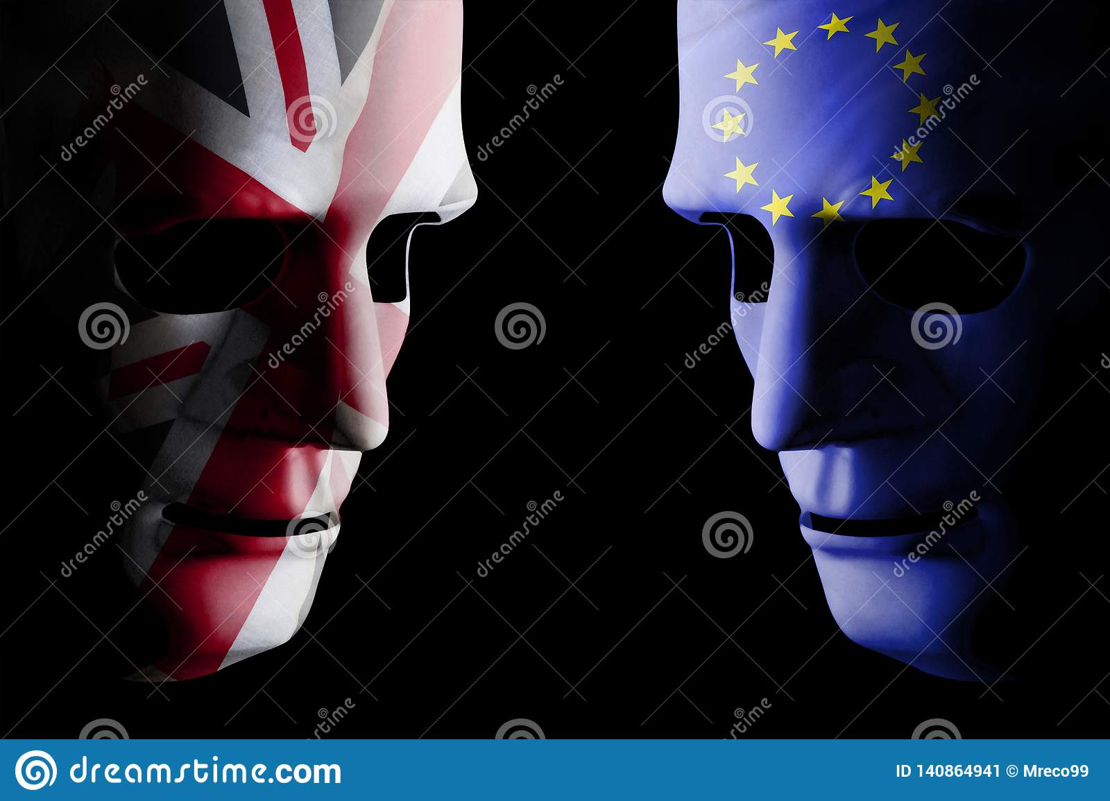 Brexit concept with two blank faces and flags