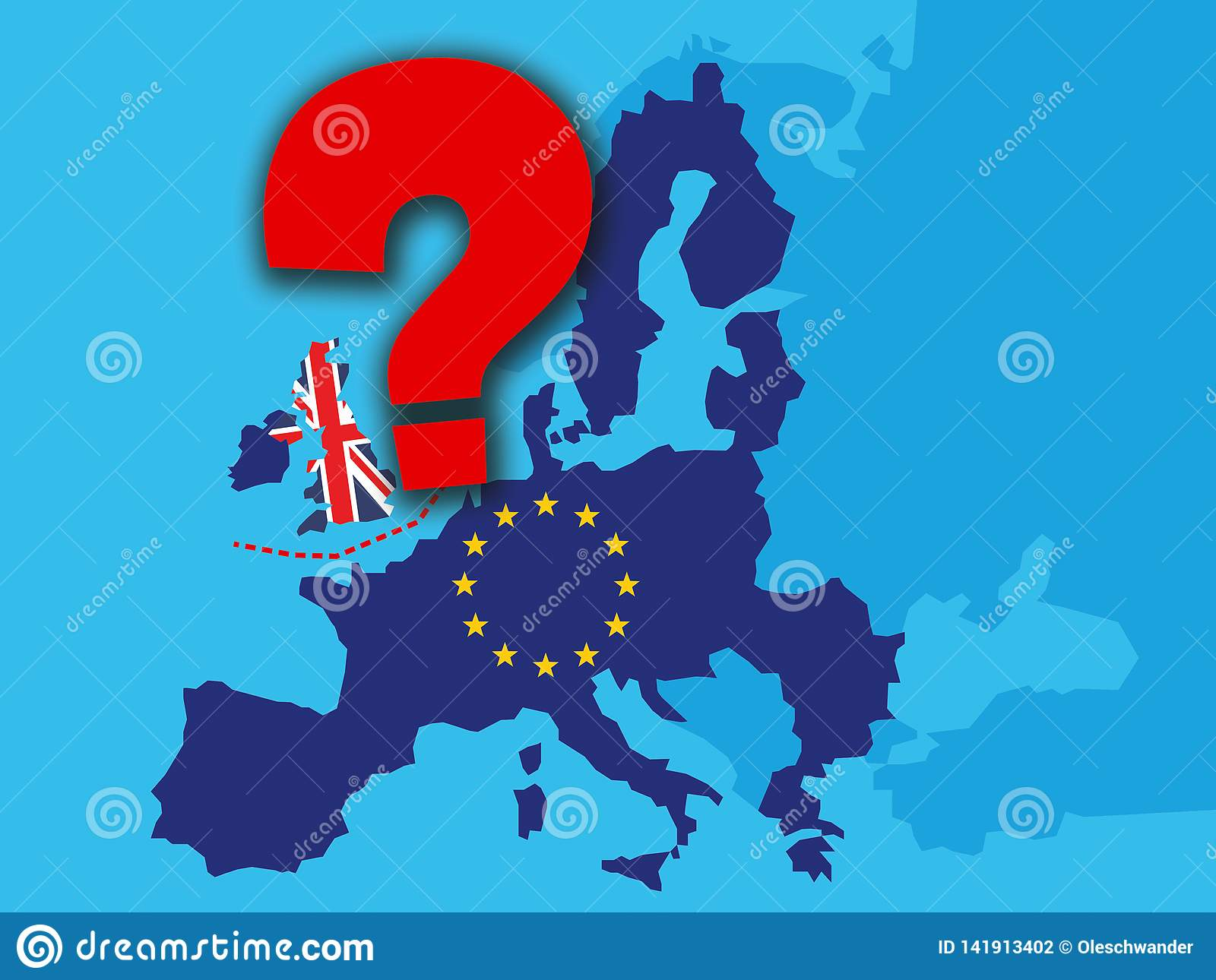 Brexit concept - UK economy after Brexit with a big red question mark - UK as a flag and EU stars on map of europe with big qustio