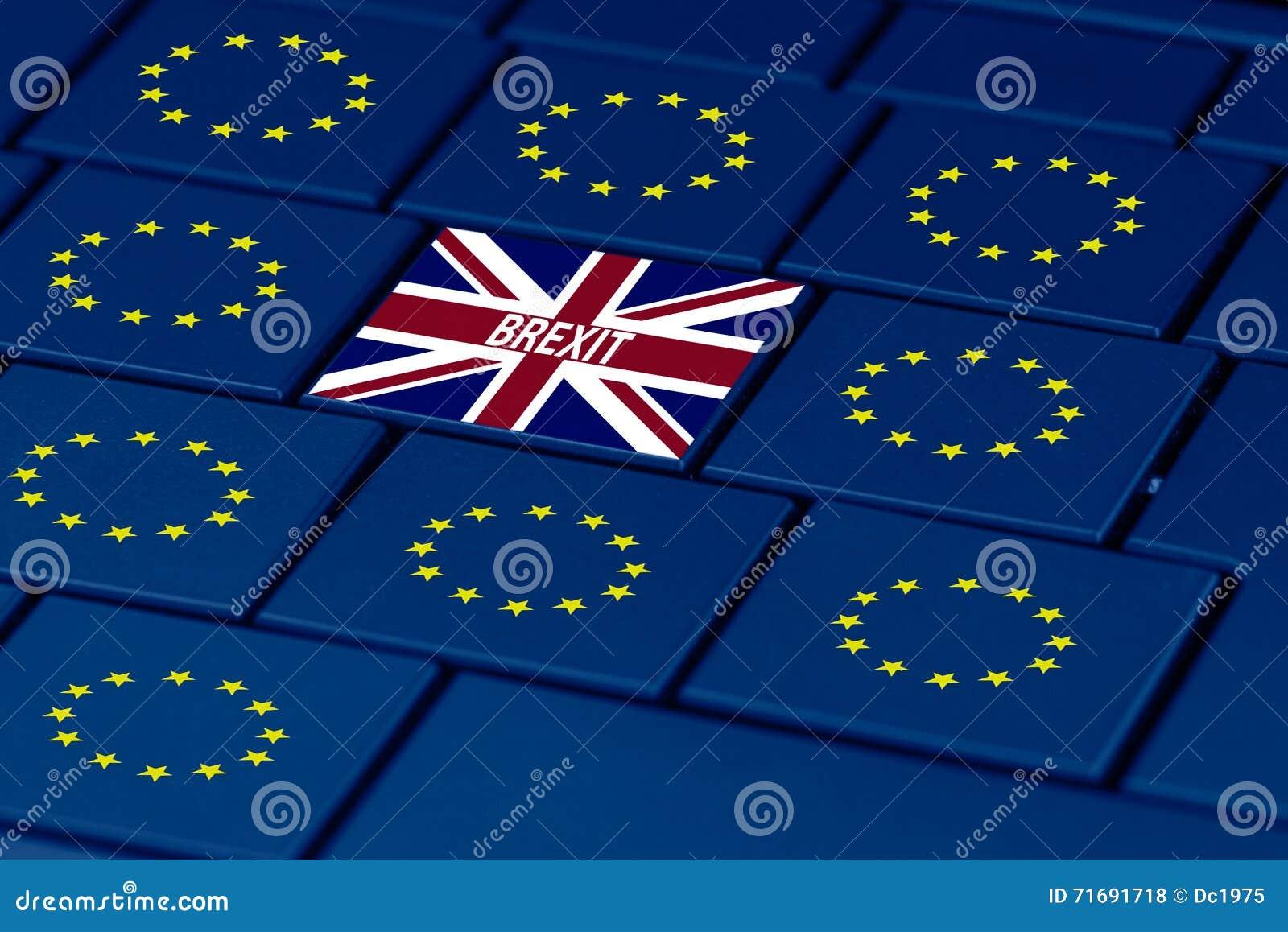 Brexit e simbolo dell Eu in tastiera del pc