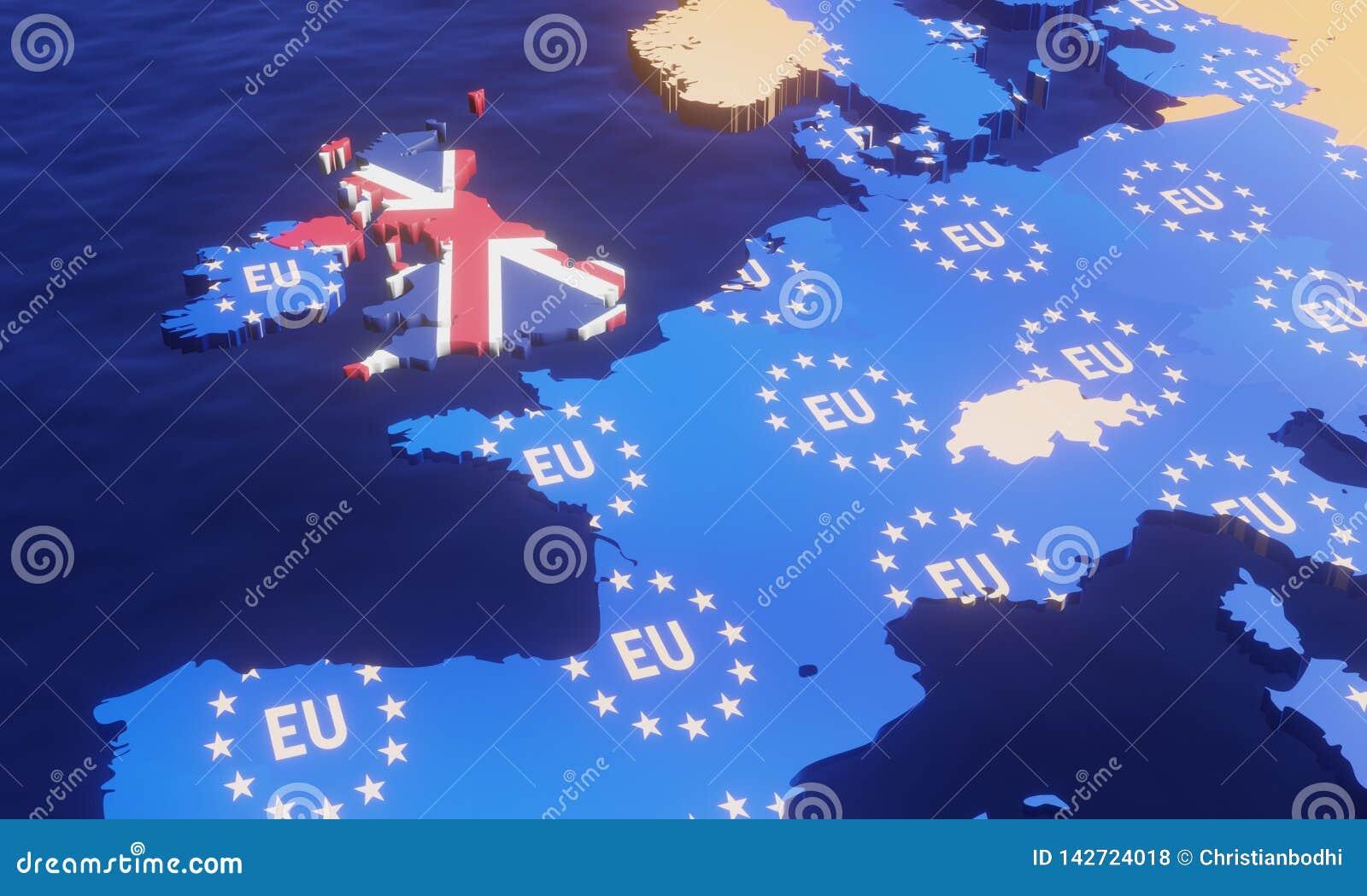 Brexit - EU-översikt för illustration 3D