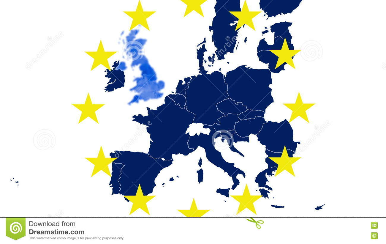 Karte Eu.Brexit Eu Blue Map On White Background With 12 Symbolic Yellow Stars Uk Evaporates In A Blue Steam