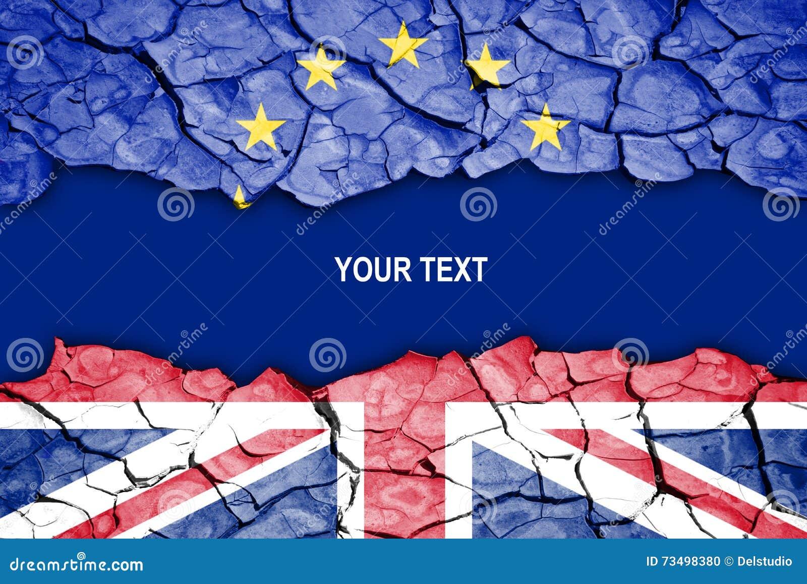 Brexit, fente entre les drapeaux du R-U et l UE