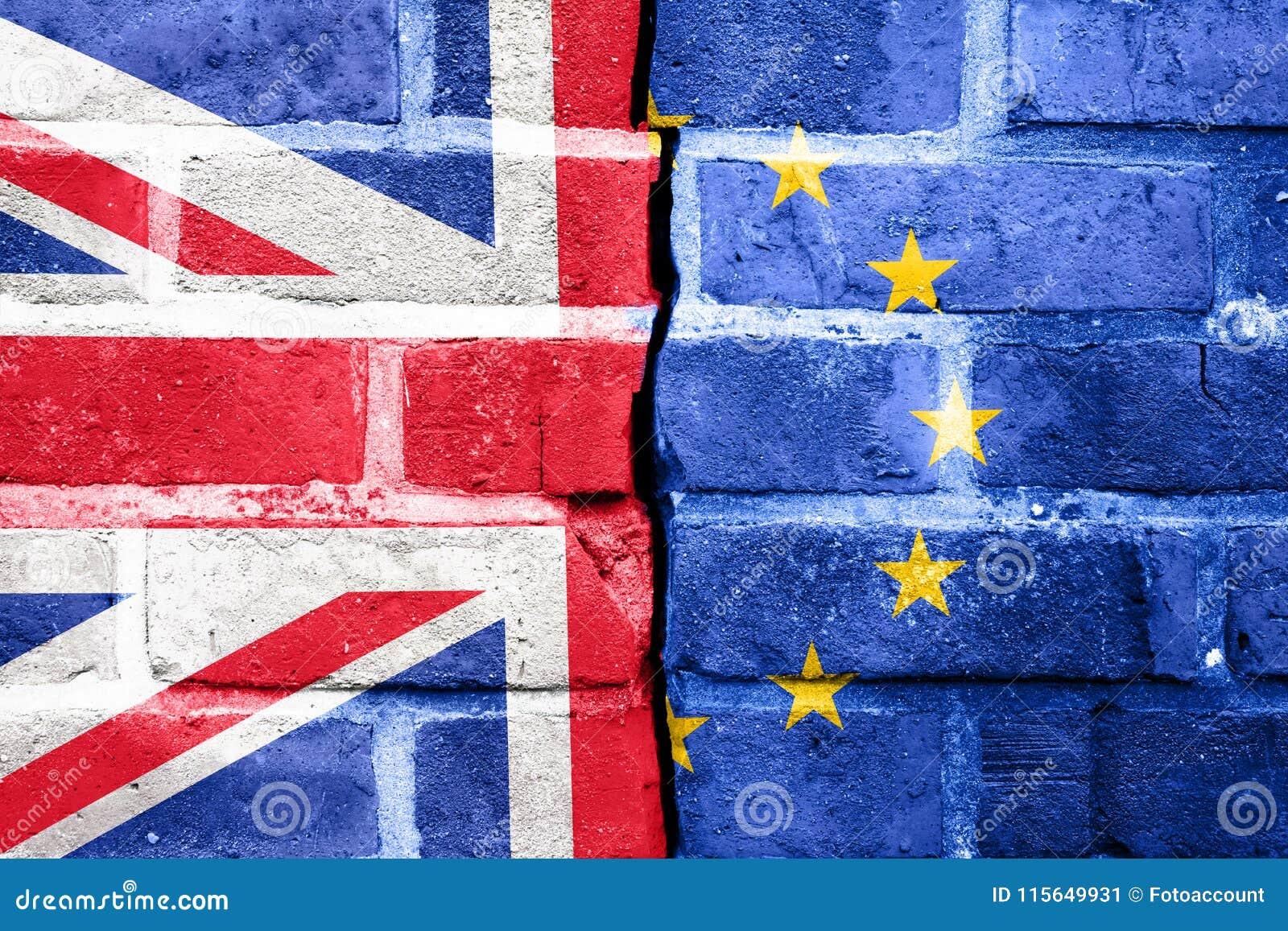 Brexit, flaggor av Förenade kungariket och den europeiska unionen på CR