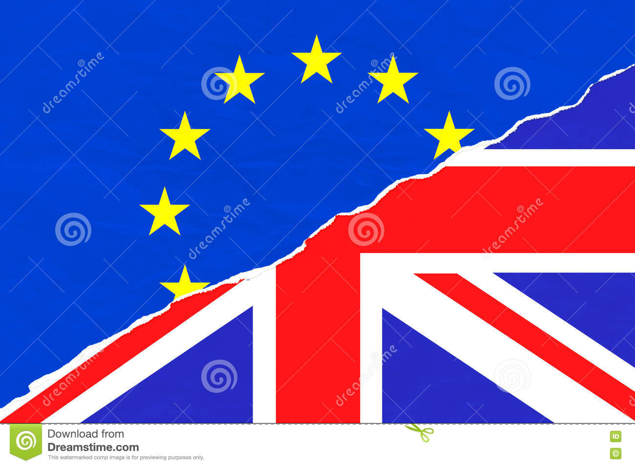 brexit half blue european union eu flag and half uk england great