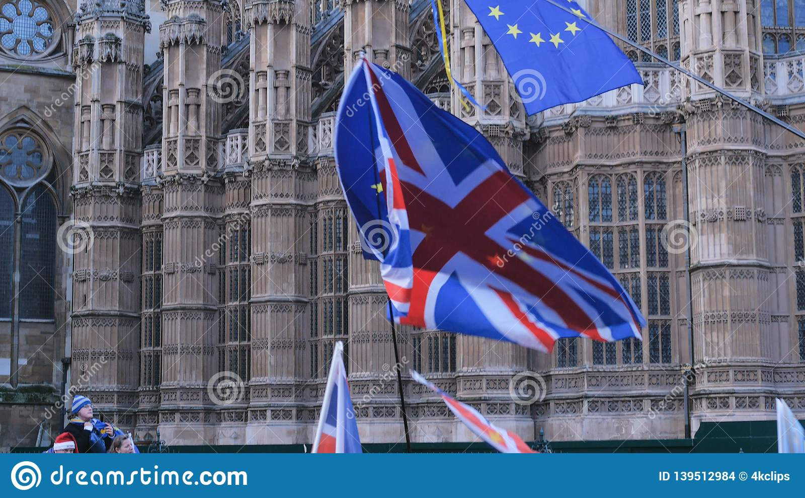 Brexit protest march and demonstration in London - LONDON, ENGLAND - DECEMBER 15, 2018