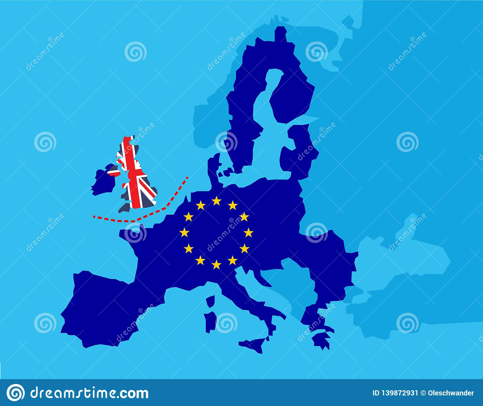 Map Of Europe England.Brexit Referendum Uk Concept United Kingdom Great Britain Or
