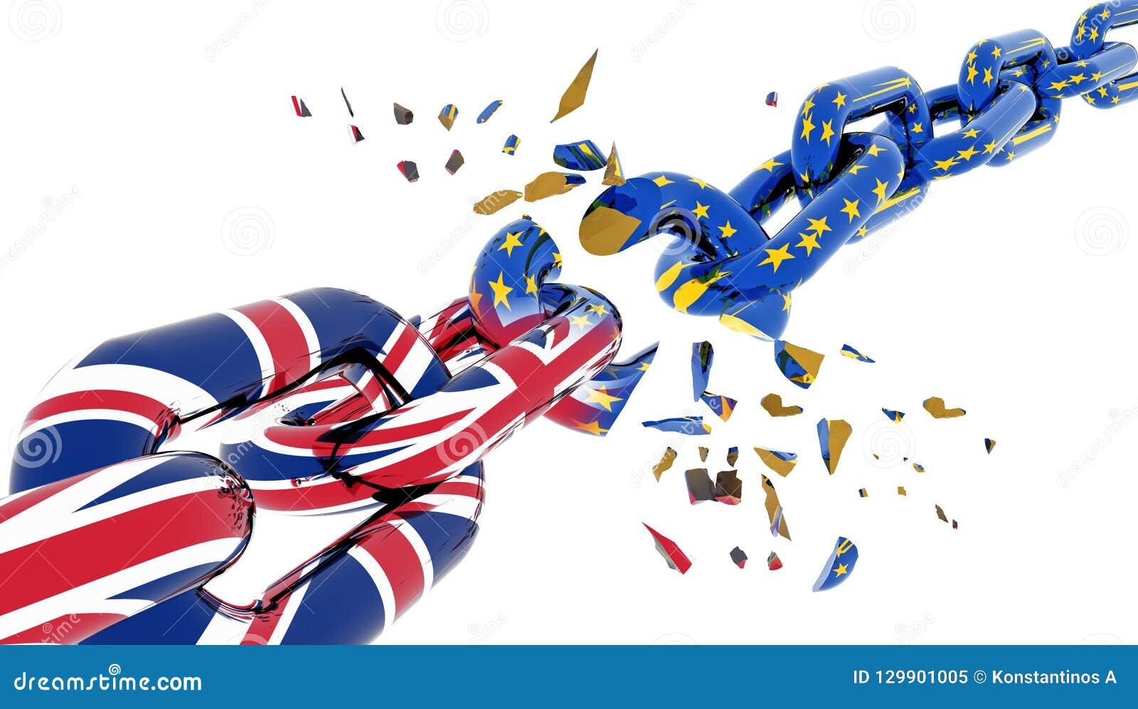 Brexit shuttered quebrado de la cadena de la unión europea - representación 3d
