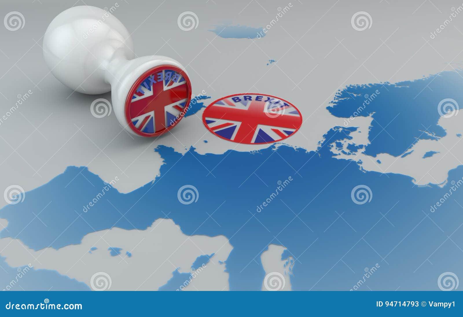 Brexit znaczek i mapa Europa, Anglia i wspólnota europejska,