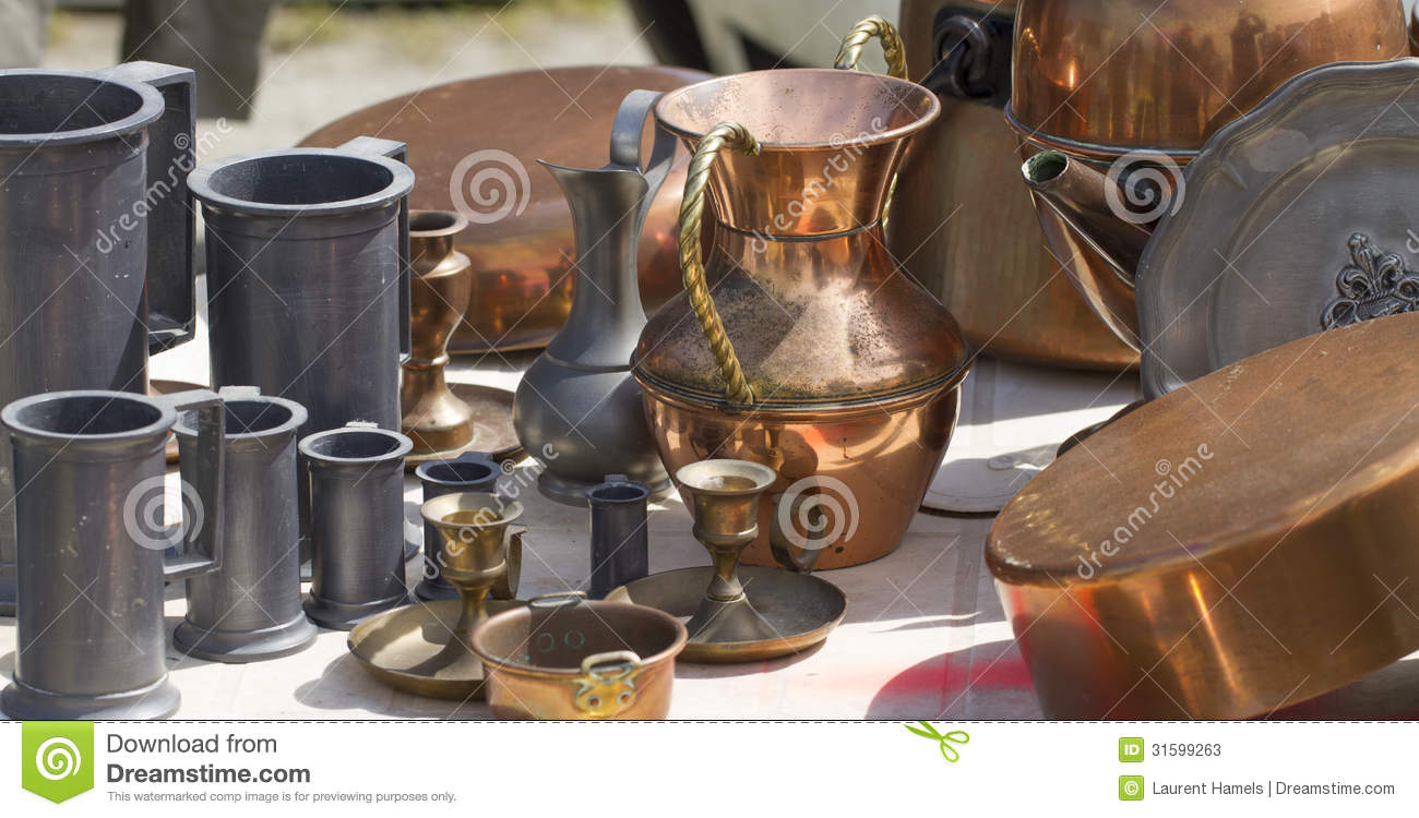 Bric A Brac Of Copper And Tin Objects At Flea Market Stock