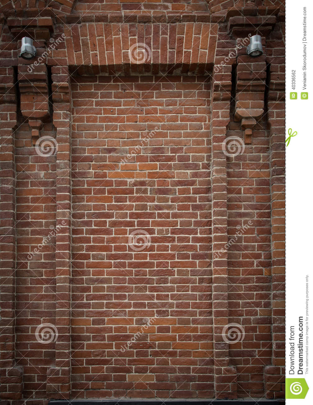 Brick Alcove Niche With Half Columns On Each Side And Two