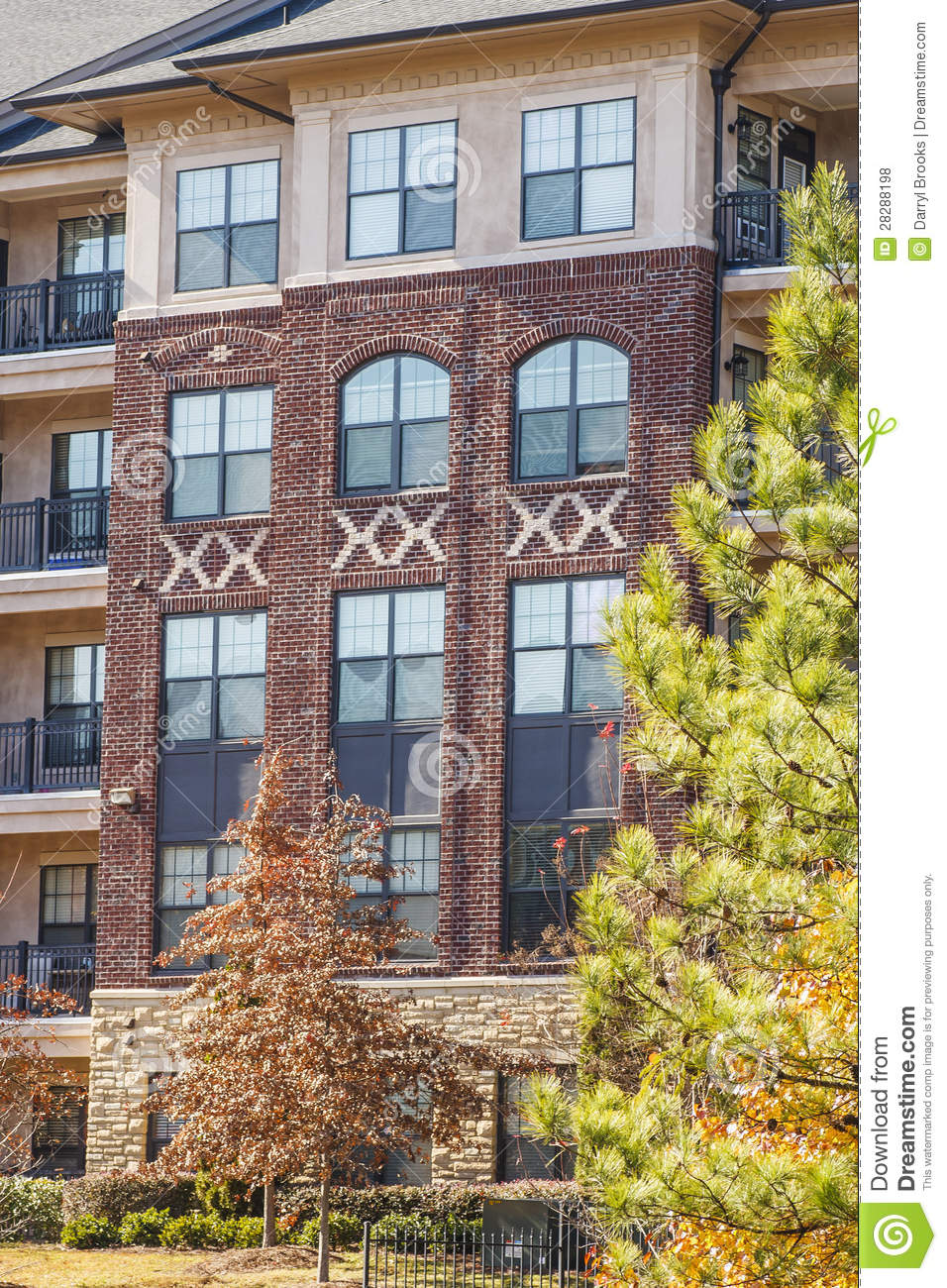 Brick Apartments By Pine Tree Royalty Free Stock Photos ...