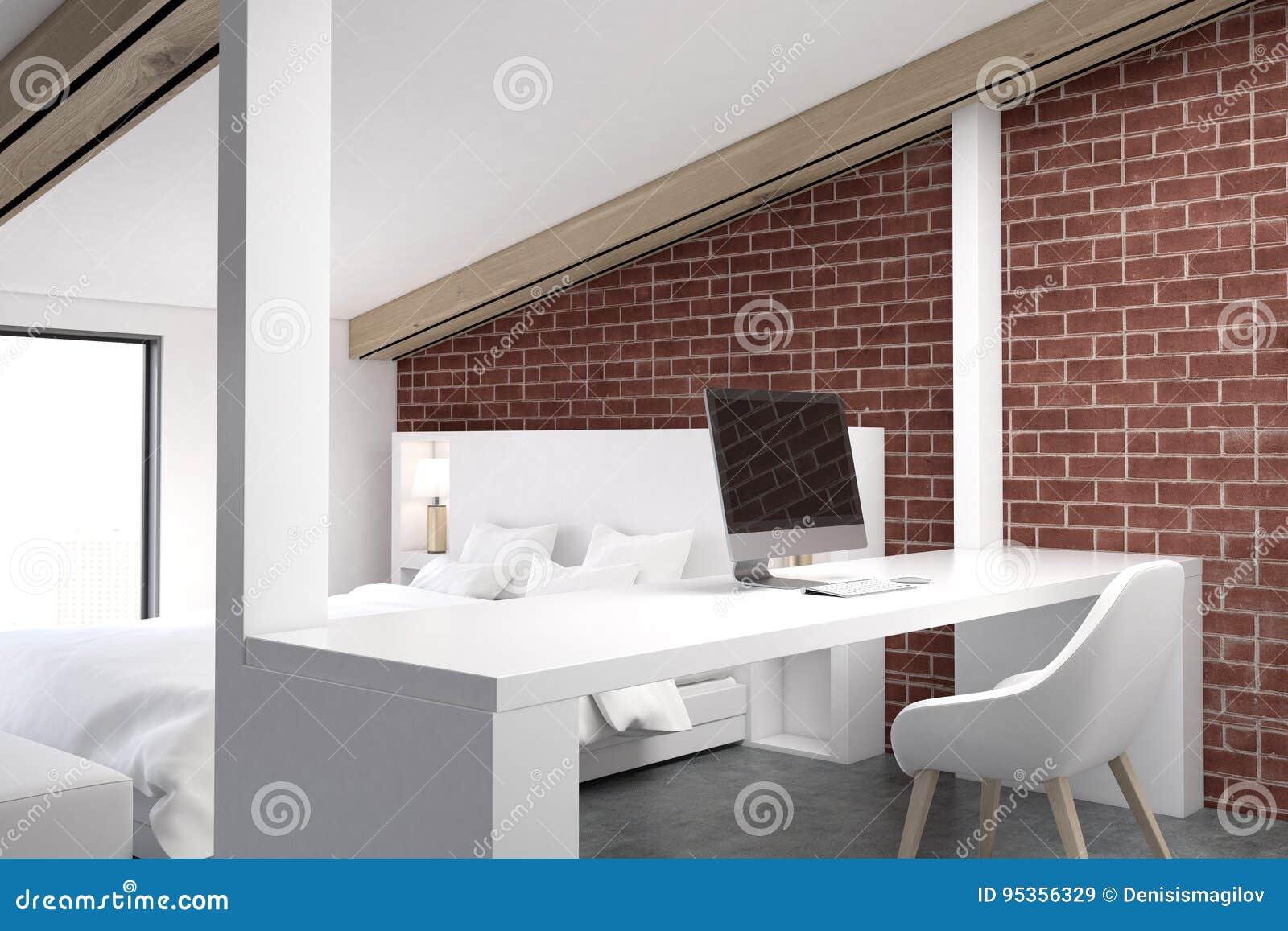 Brick Attic Bedroom, Home Office, Corner Stock Illustration ...