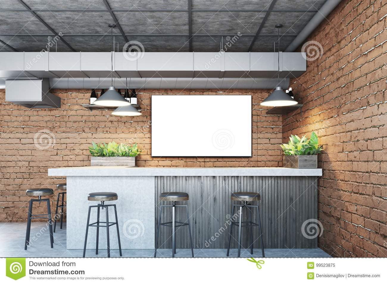 Brick bar with a poster stock illustration. Illustration of coffee ...