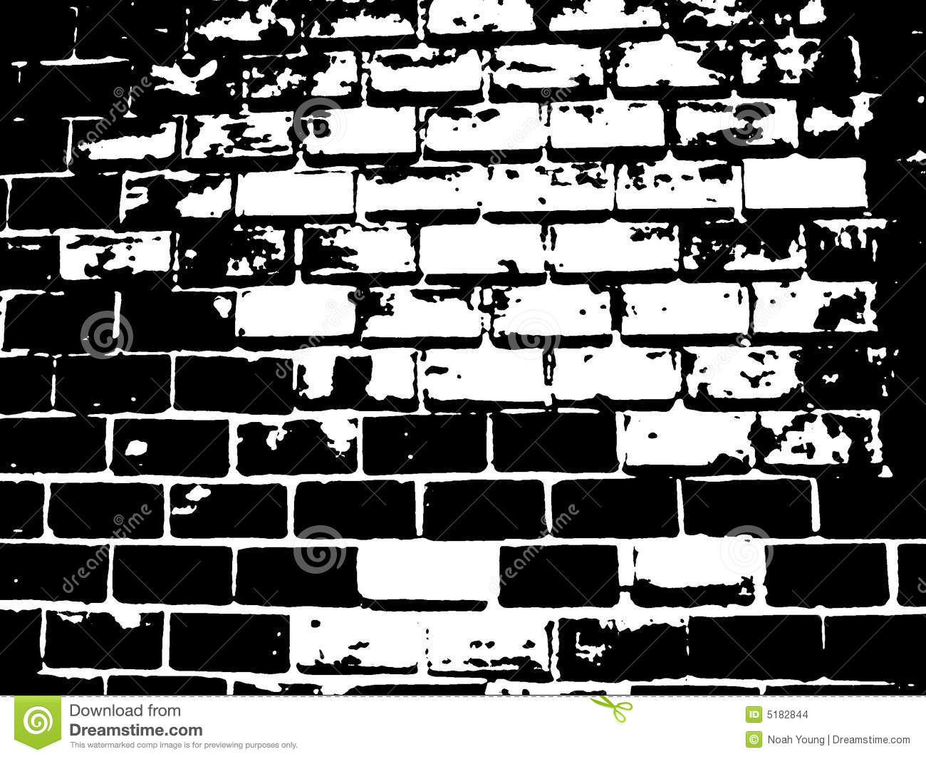 Brick Black And White Illustration Crack Cracks