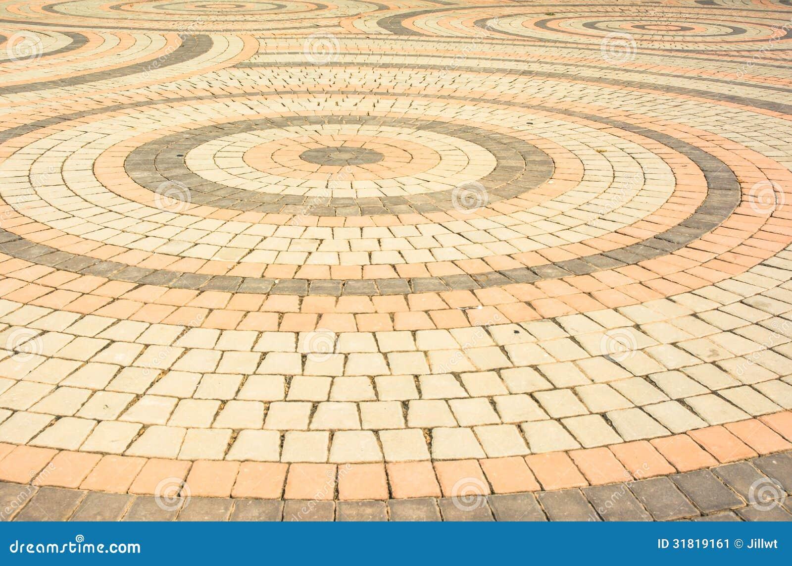 Brick Blocks Floor Circle Pattern Stock Image Image