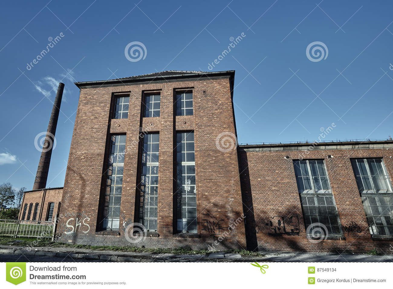Brick Chimney And Buildings Abandoned Roundhouse Stock Photo