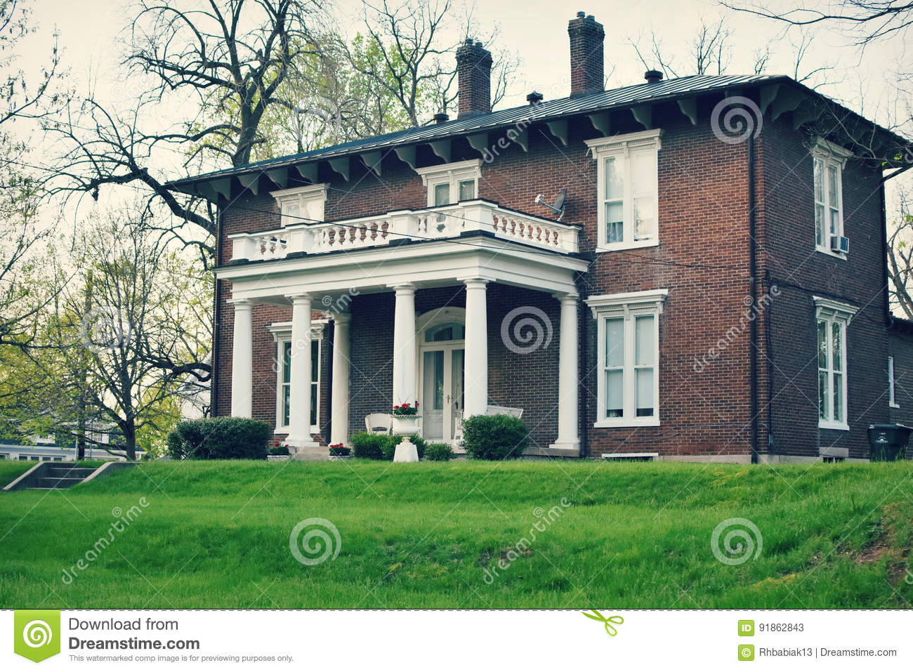 Brick Colonial House Stock Image Of Style Beautiful