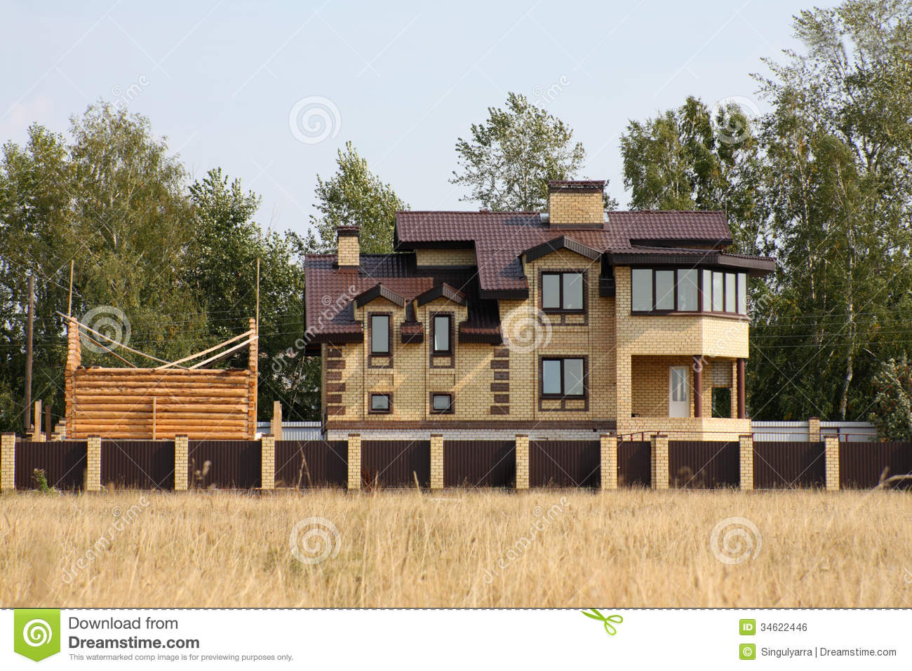 Brick country house stock photo image of over build Brick and wood house