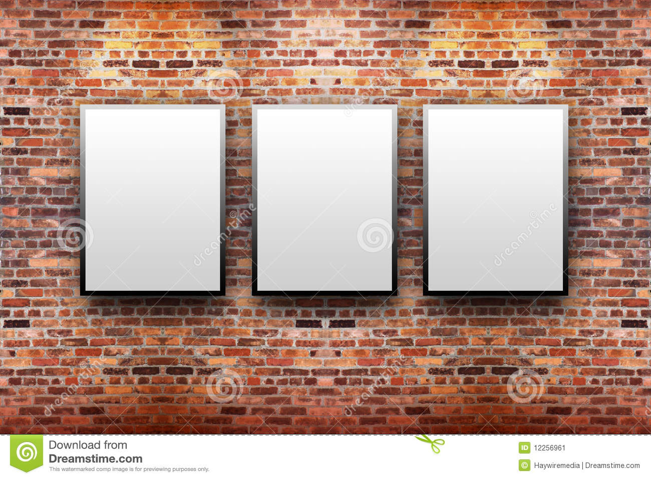 Brick Display Art Gallery With Frames Stock Illustration