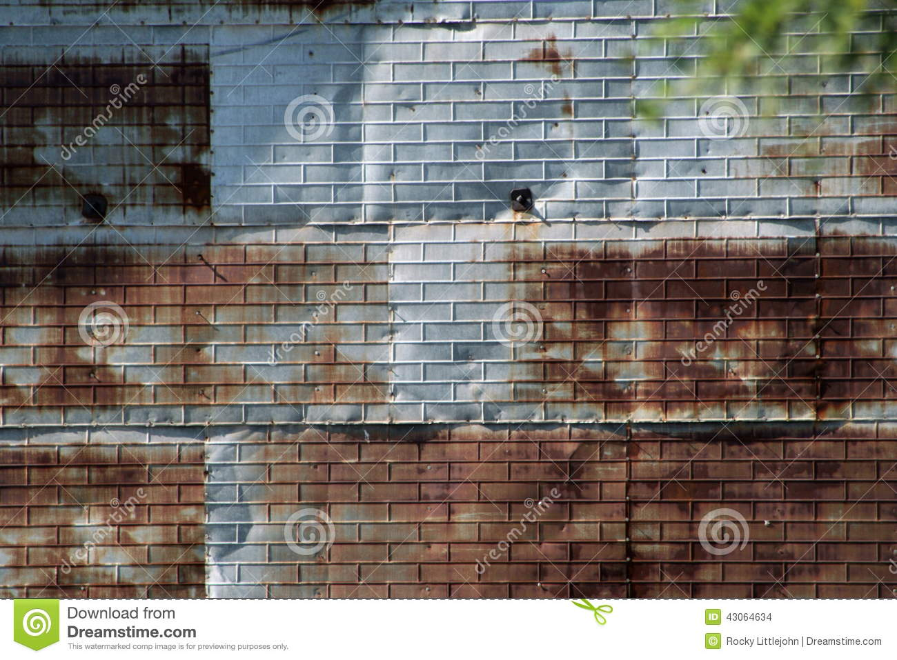 Rusted Tin Walls : Brick embossed tin shed background stock photo image
