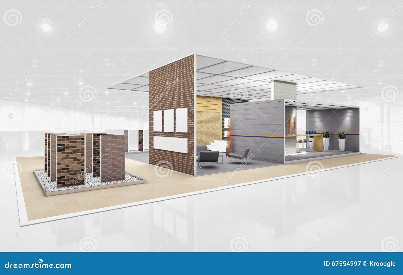 D Rendering Exhibition : Brick exhibition stand d rendering stock illustration