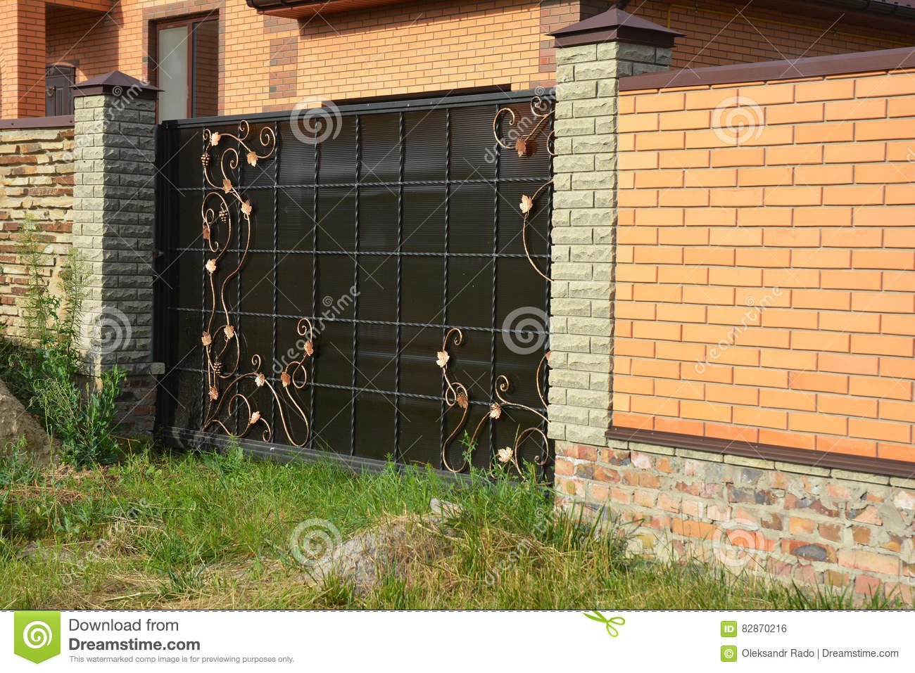 Brick Fence With Gate Of Modern Style Design Decorative ...