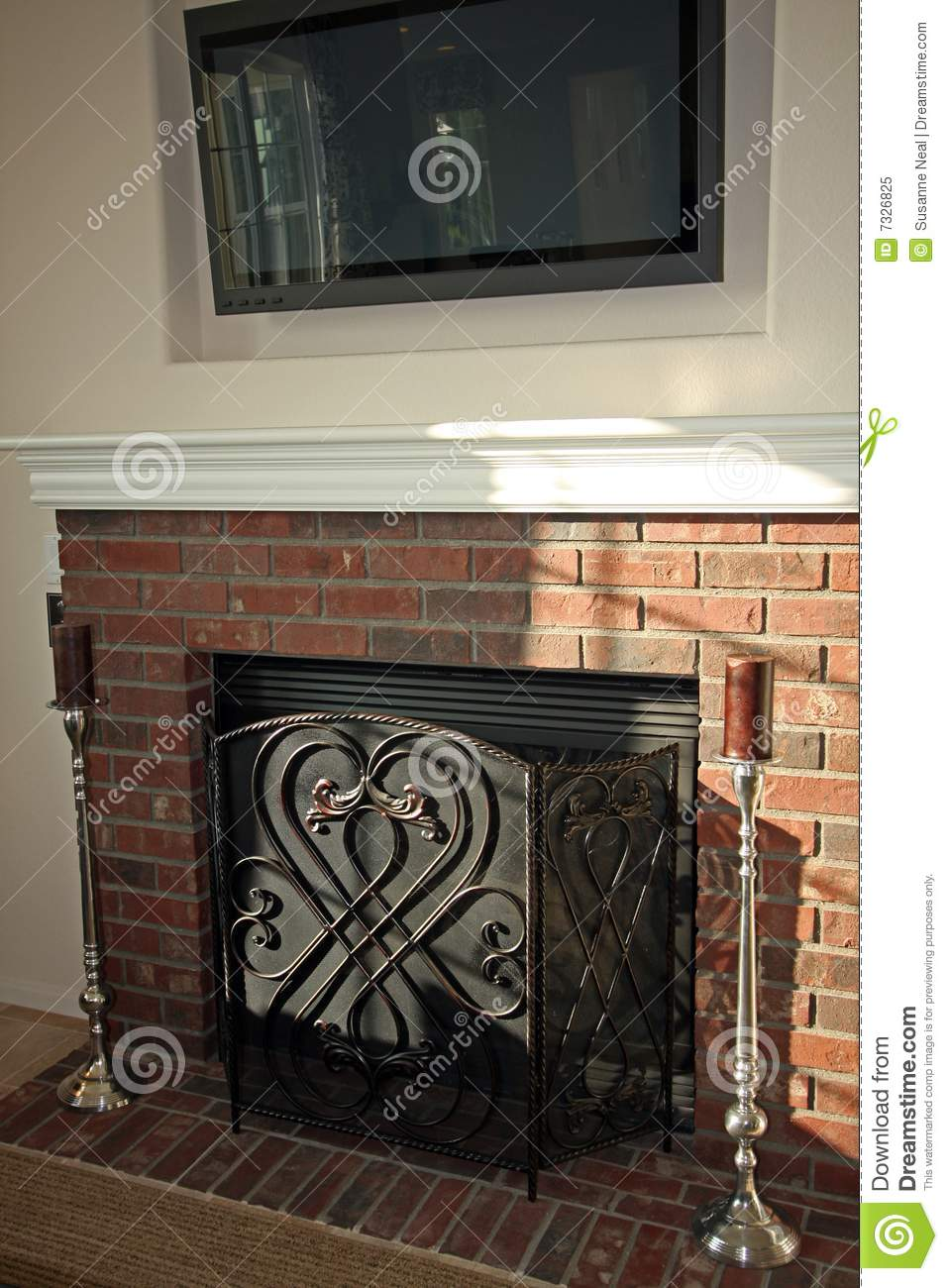 Brick Fireplace And Flat Screen Tv Stock Image Image
