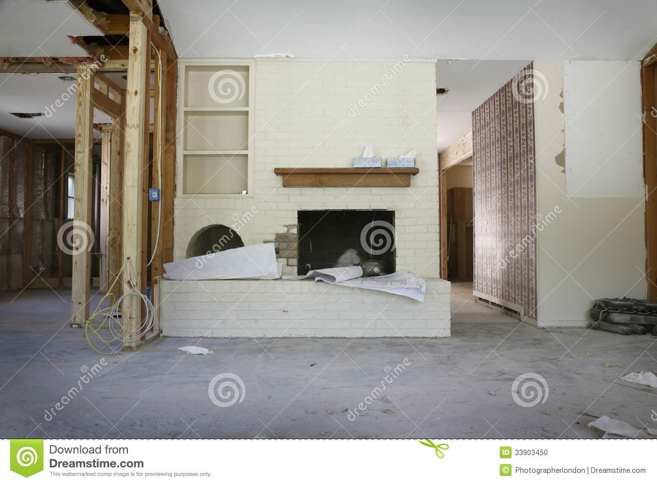 brick fireplace in house under renovation stock photo image 33903450. Black Bedroom Furniture Sets. Home Design Ideas