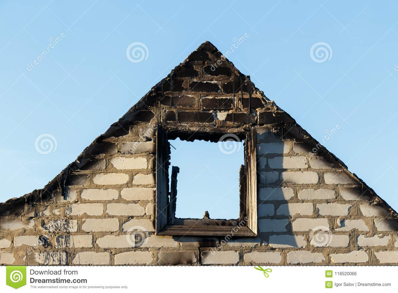 Brick fronton of the burned down building