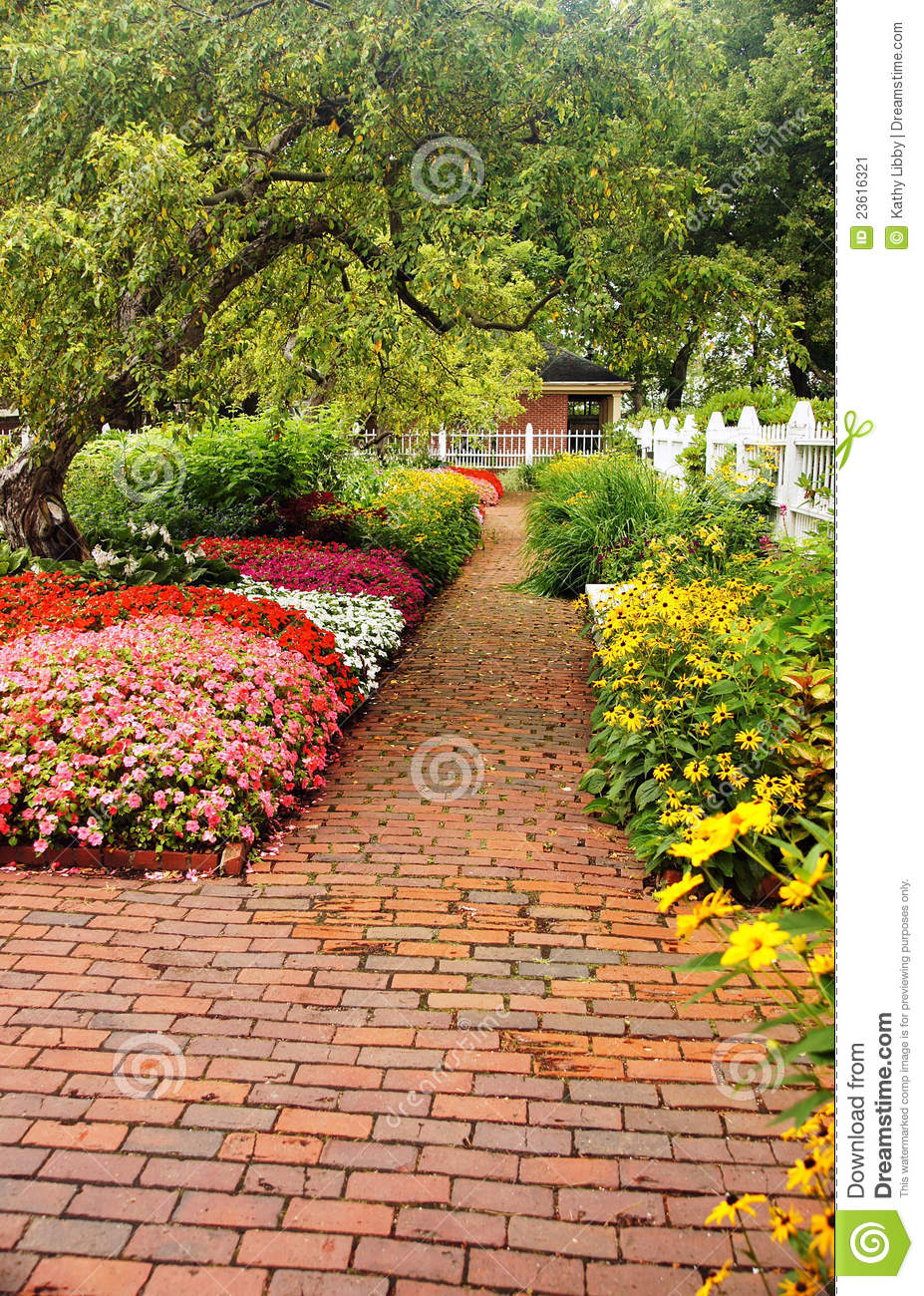 Brick Garden Path Stock Image Image 23616321