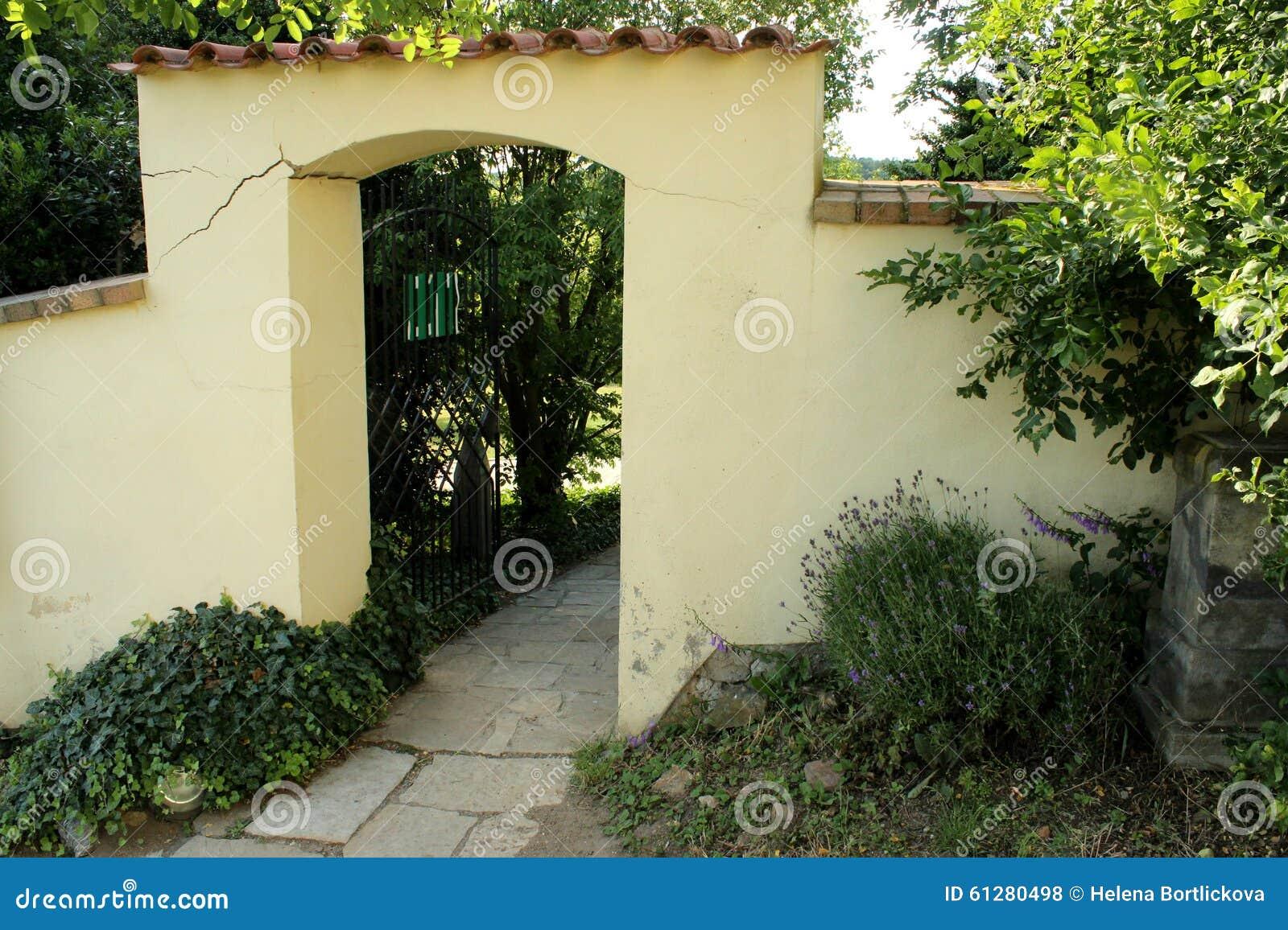 Brick gateway in the garden stock photo image 61280498 for Garden gateway