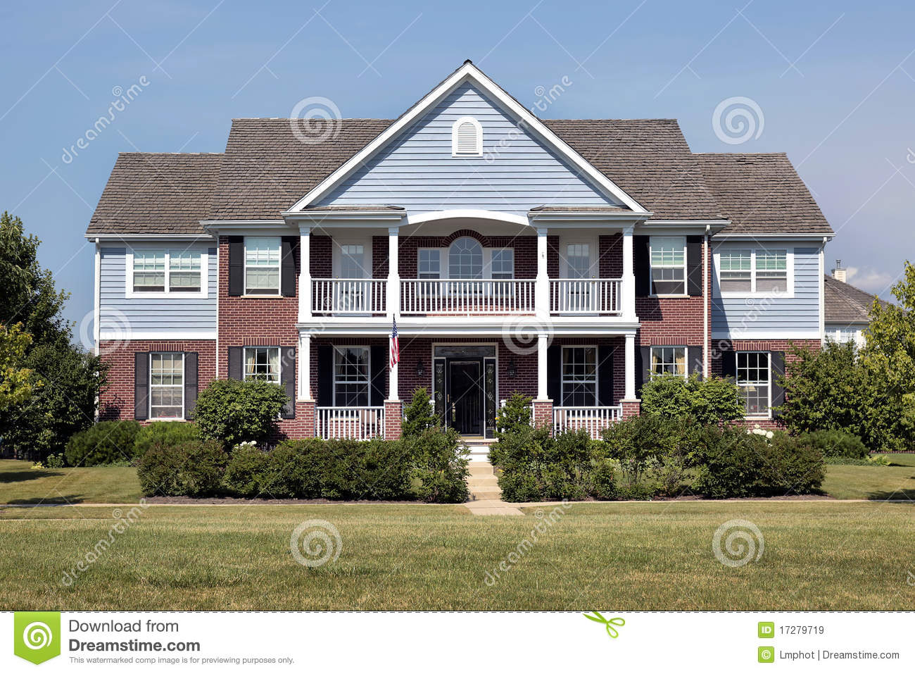 Brick Home With Blue Siding Stock Image Image Of