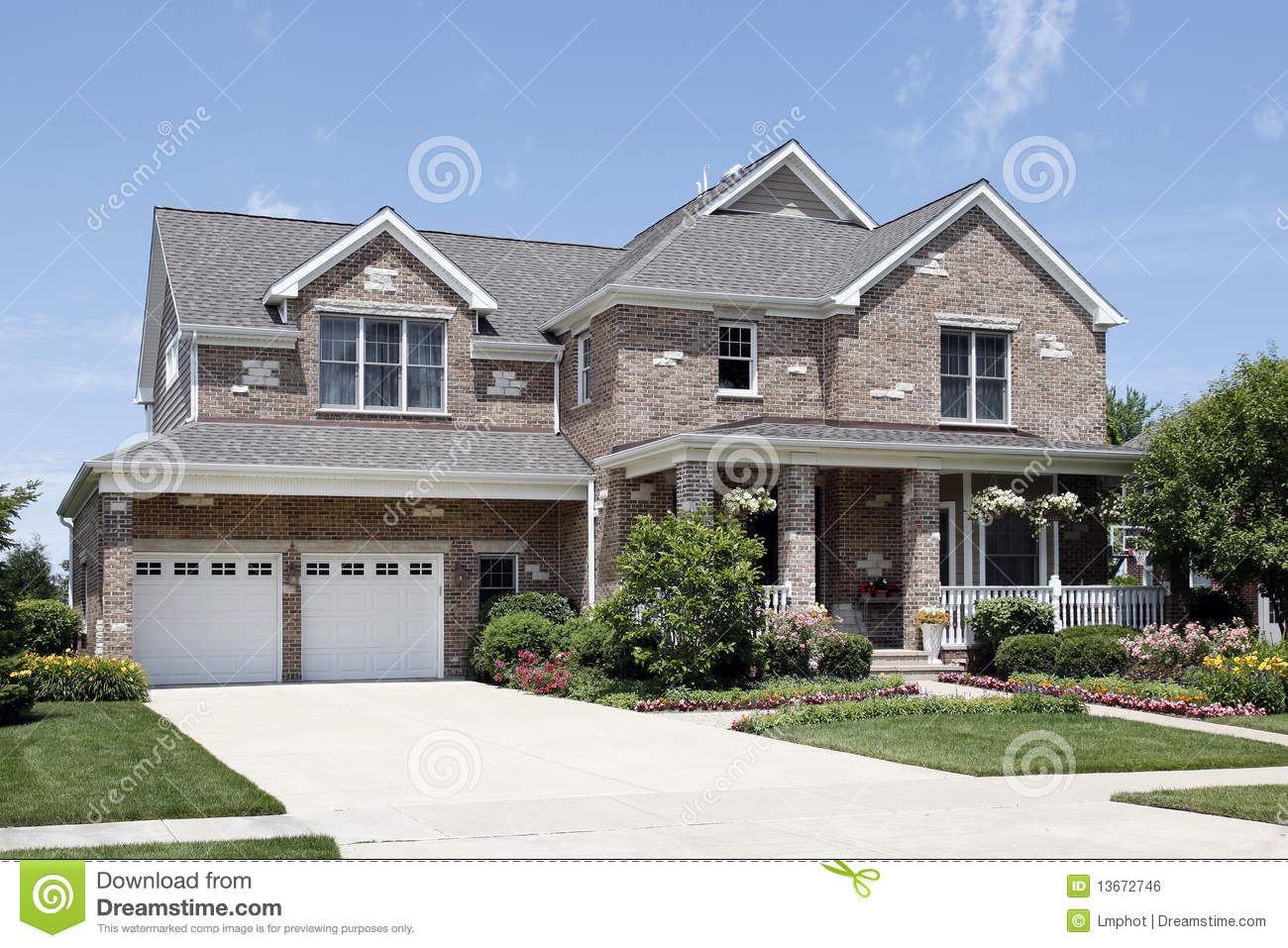 Brick Home With Front Porch Stock Photo Image 13672746