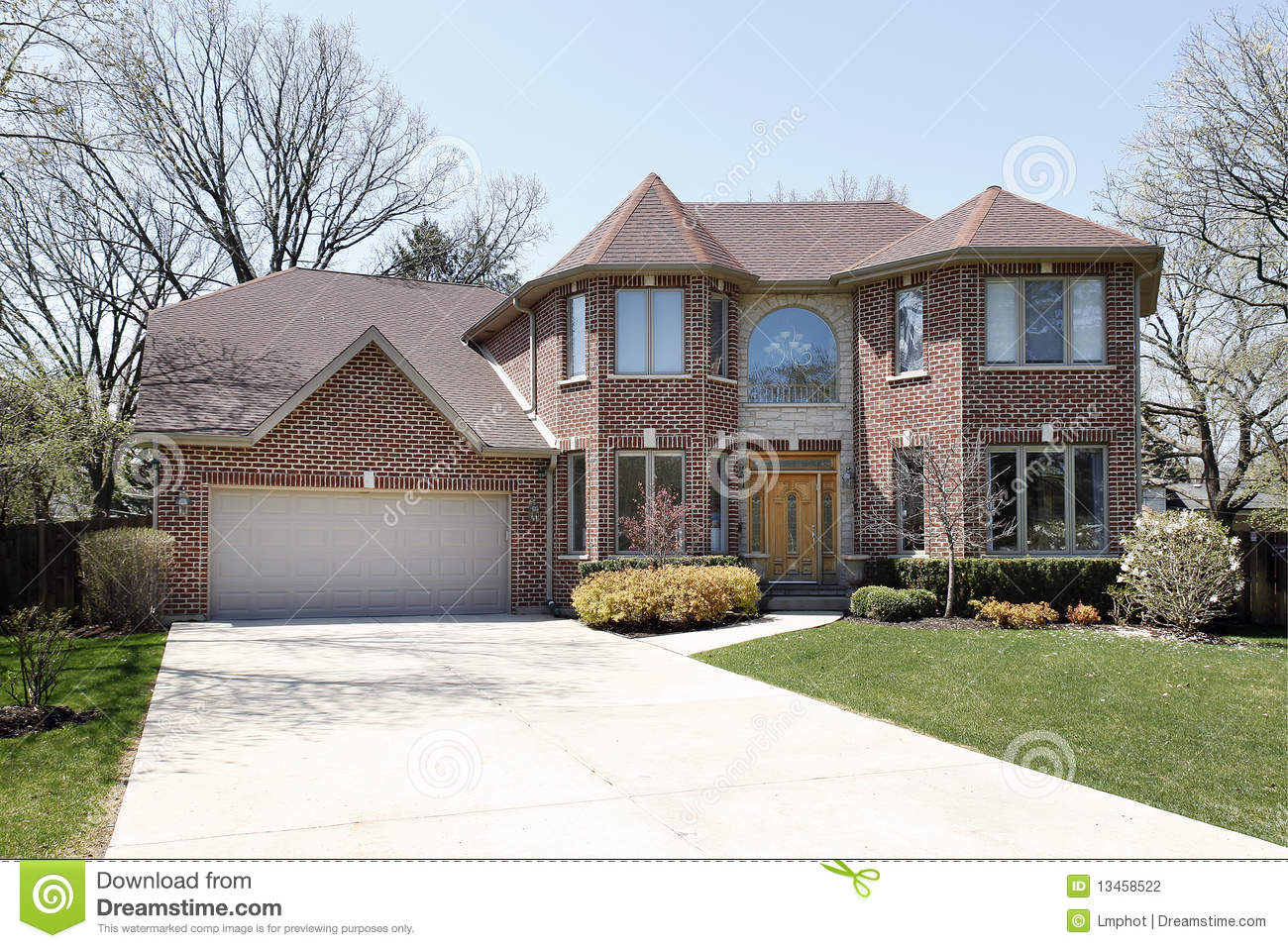 Brick Home With Stone Entryway Stock Photography - Image: 13458522