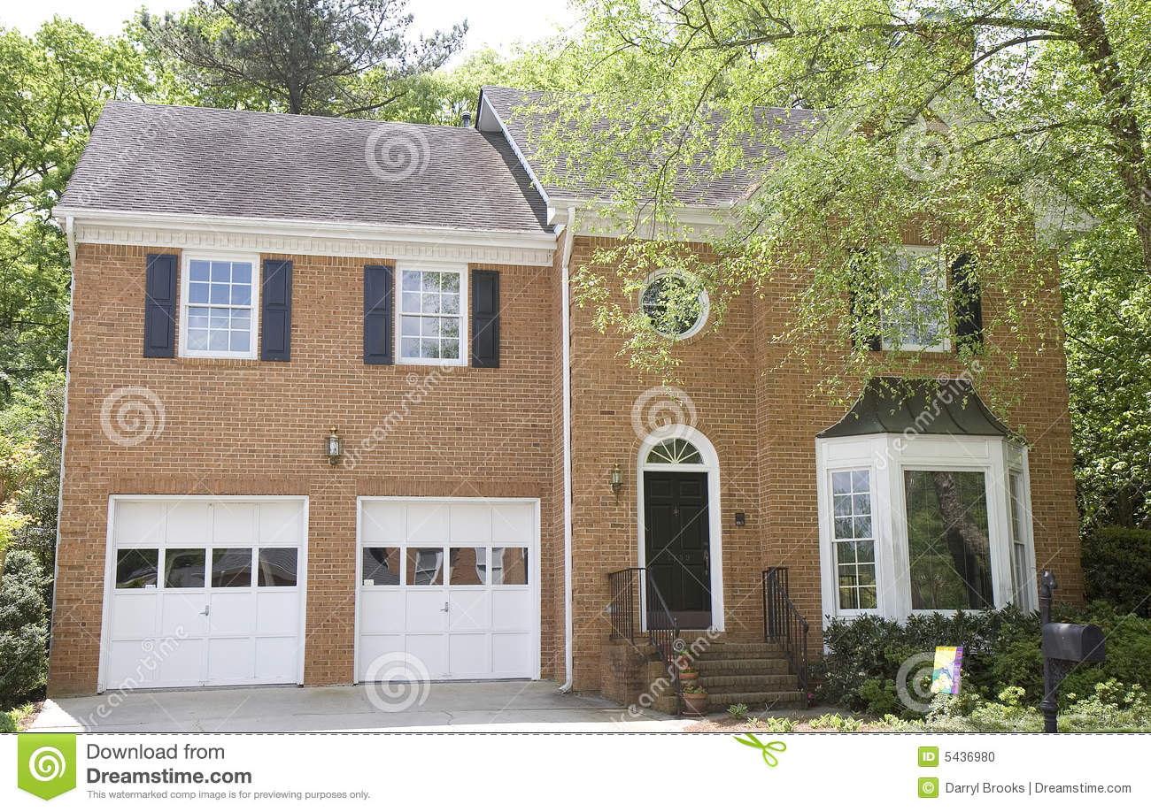 Brick House With Bay Window Stock Photo Image Of House Landscaping 5436980
