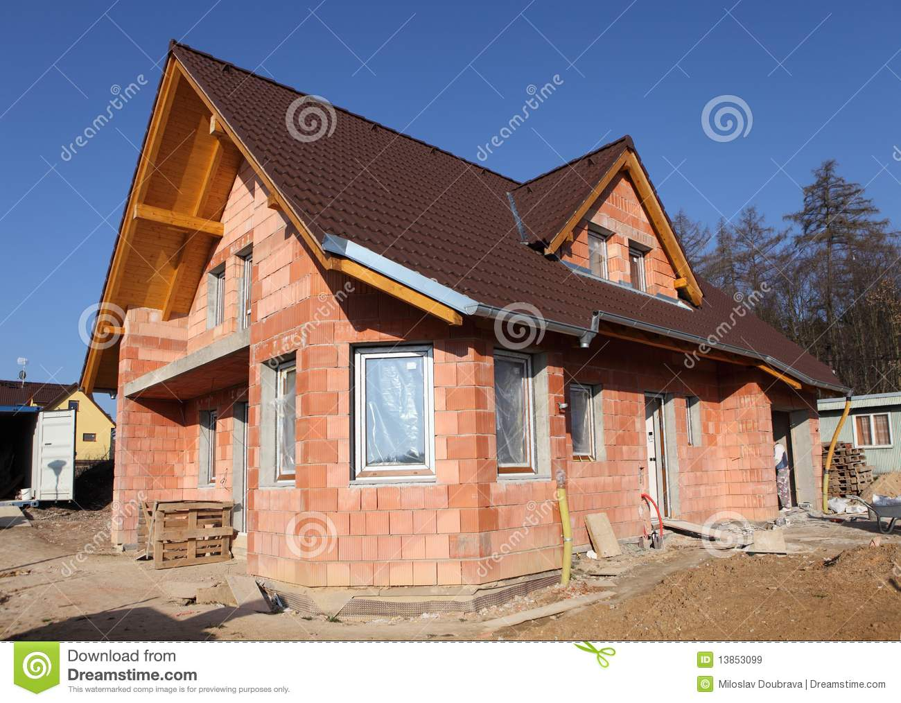 Brick House Being Built Royalty Free Stock Images Image