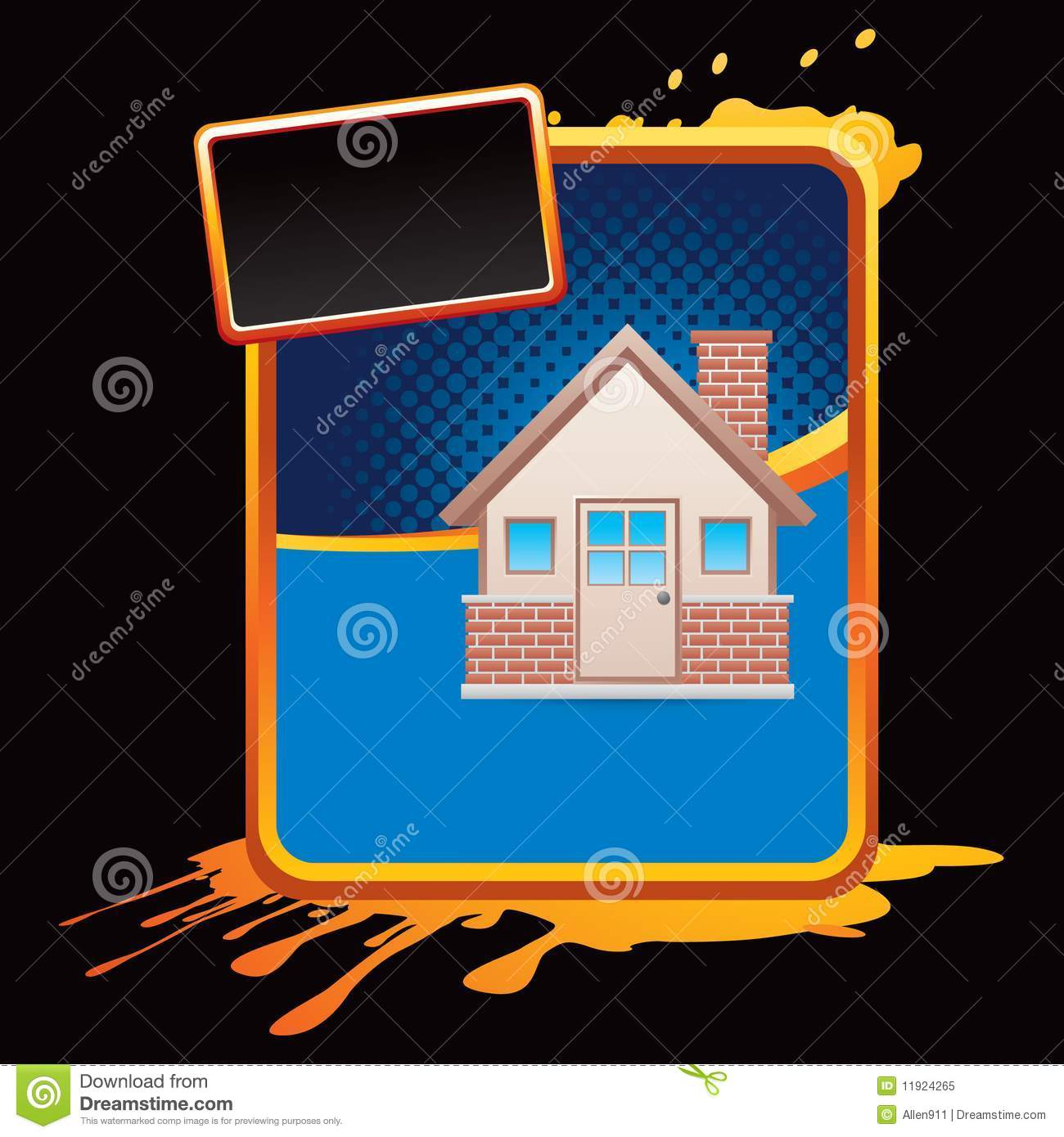 Download Brick House On Blue Halftone Grungy Ad Stock Vector - Illustration of architecture, real: 11924265