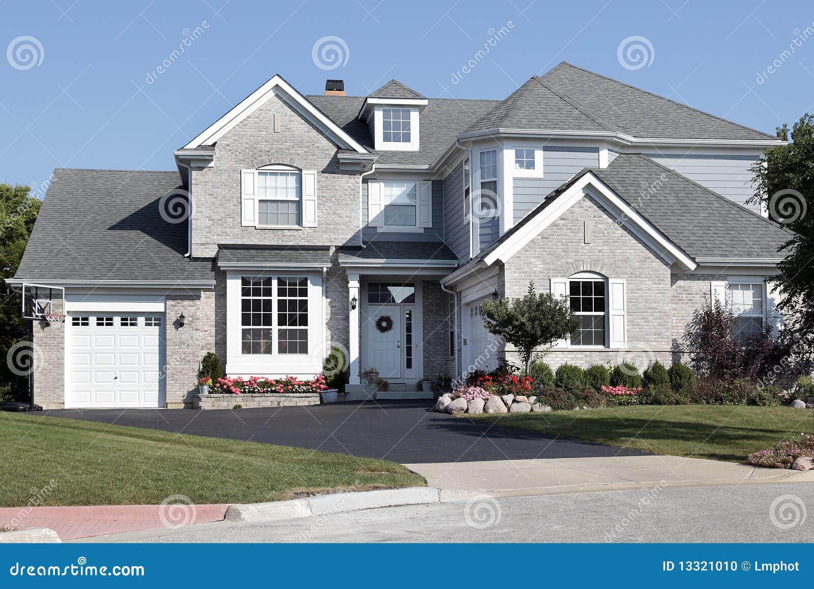 Brick House With Blue Siding Stock Photo Image 13321010